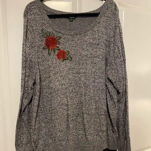 Torrid Size 4 Grey & Black Sweater w/Chiffon NWOT